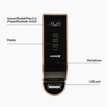 Bluetooth Handsfree Car Kit FM wireless transmitter MP3 music player USB 3.5mm audio cable connect support TF card USB charging 5