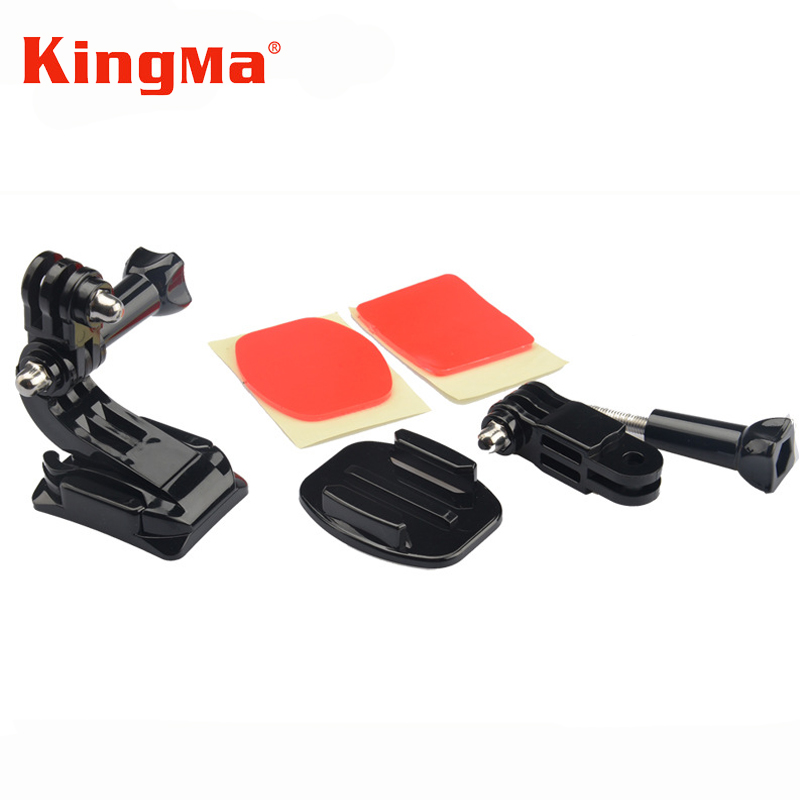 Kingma Helmet Front Mount Accessories Set 3 Way Arm Curved Sticker J-Hook Bracket for Gopro 4 3 5 4 Session Go pro Xiaomi yi 4K