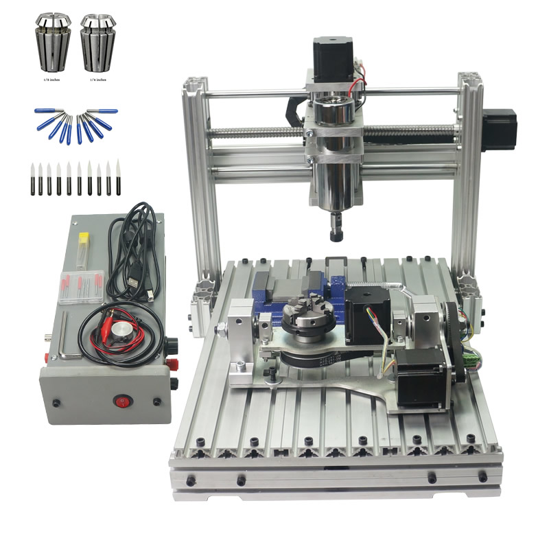mini DIY milling engraving machine 3040 metal 400 spindle 4axis wood engraver and 5axis cnc router with free cutter er11 collet russia no tax diy 3040 4axis mini cnc router engraving drilling and milling machine for wood metal cutting
