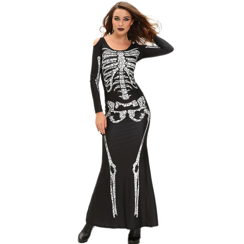 2018 new women dress halloween cosplay costume skeleton print
