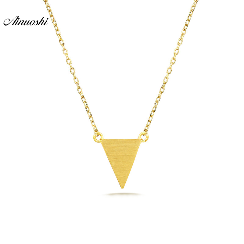AINUOSHI New Mini 18K Pure Gold Triangle Pendant Necklace Brush Smooth Finished Women Pendant Link Chain Engagement Wedding Gift triangle fringed paillette pendant necklace