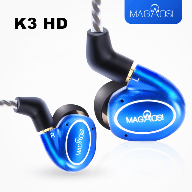 New MaGaosi K3 HD Hybrid In Ear Earphone With Tuning Filters 1BA With 1DD HIFI Bass Metal Shell With Replaceable Cable MMCX 2017 rose 3d 7 in ear earphone dd with ba hybrid drive unit hifi monitor dj 3d printing customized earphone with mmcx interface