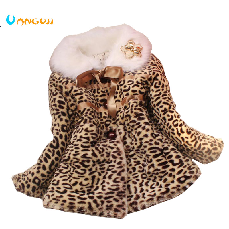 girls winter coat children outwear leopard faux fur coat autumn jackets for girls casual clothes baby thick fleece warm clothing