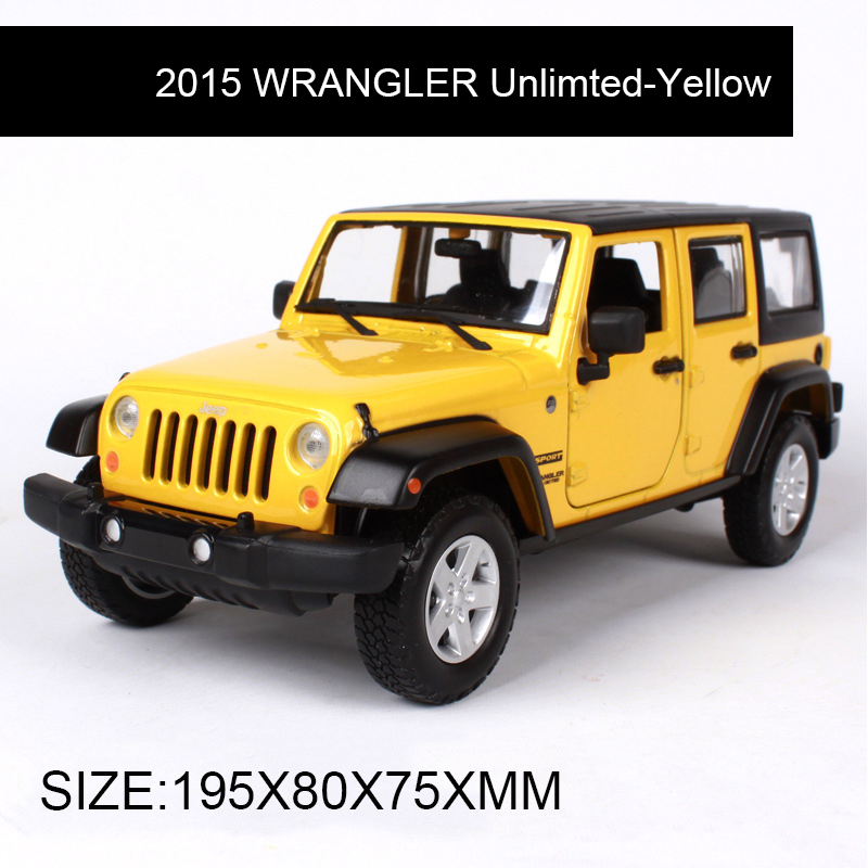 1:24 Diecast Model SUV 2015 WRANGLER Unlimted Orange Alloy Car Metal Toys gift modified car simulation model For Collection maisto jeep wrangler rubicon fire engine 1 18 scale alloy model metal diecast car toys high quality collection kids toys gift