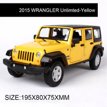 1:24 Diecast Model 2015 WRANGLER Unlimted Orange Alloy Car Metal Toys gift modified car simulation model For Collection