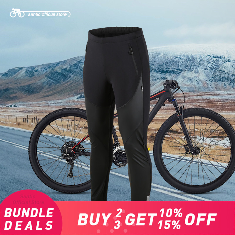 Santic Men Cycling Windproof Pants Full Long Pant Winter Two Fabrics Sport Cycling Running Leisure Fleece