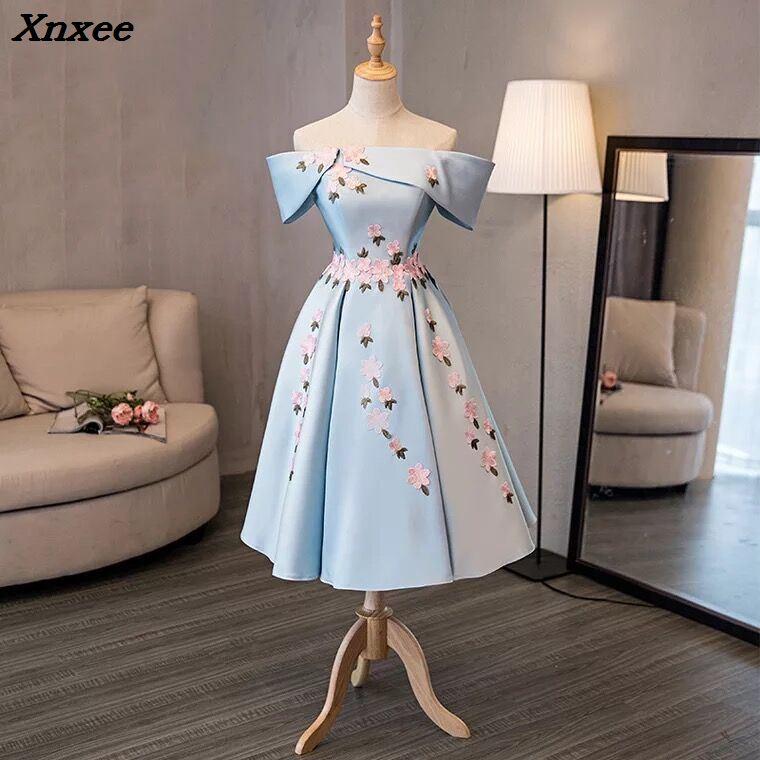 2018 Xnxee Nuevo Cielo Azul Satinado Encaje Apliques Vestidos Para Boda Fiesta Fuera Del Hombro Vestidos De Noche Formales Vestidos Swing