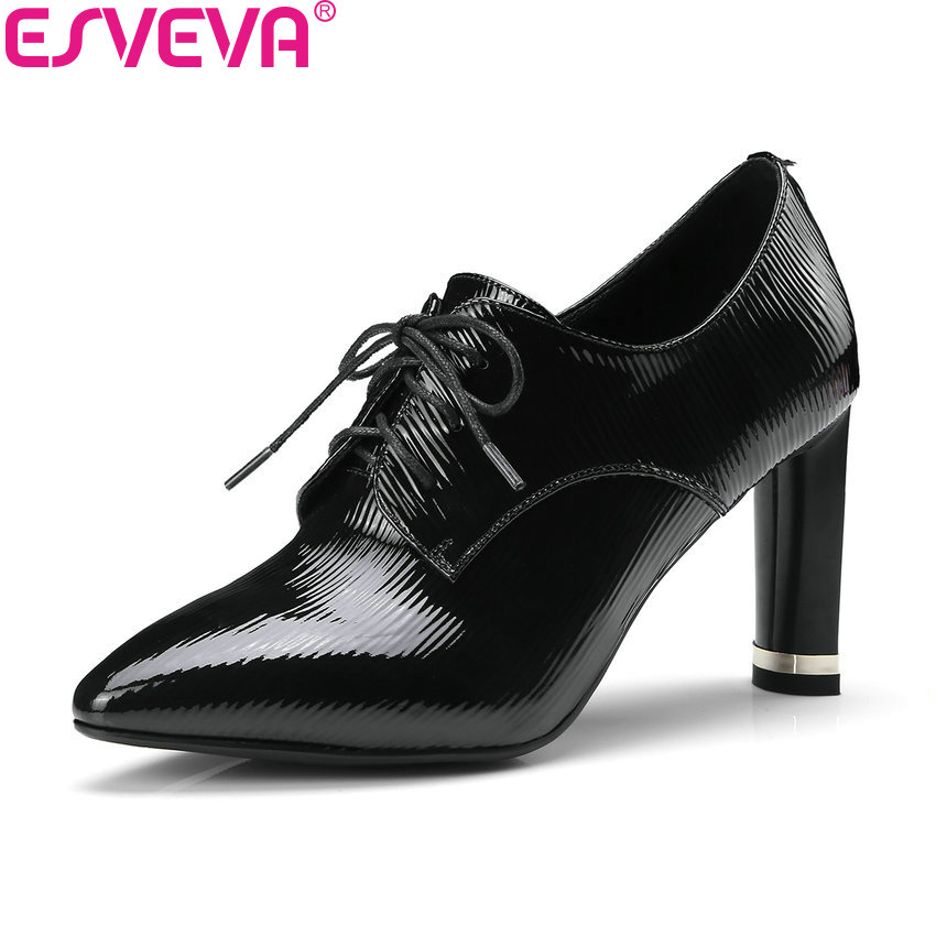 ESVEVA 2018 Pointed Toe Western Style Women Pumps Cow Leather PU Square High Heels Lace Up Out Door Ladies Shoes Size 34-43 esveva 2018 women boots cow leather pu out door zippers square high heels ankle boots pointed toe chunky ladies shoes size 34 39