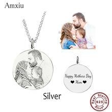 Amxiu Colgante de Imagen personalizada para amantes de la familia, Collar de plata de ley 925 con nombre grabado, joyería de fotos