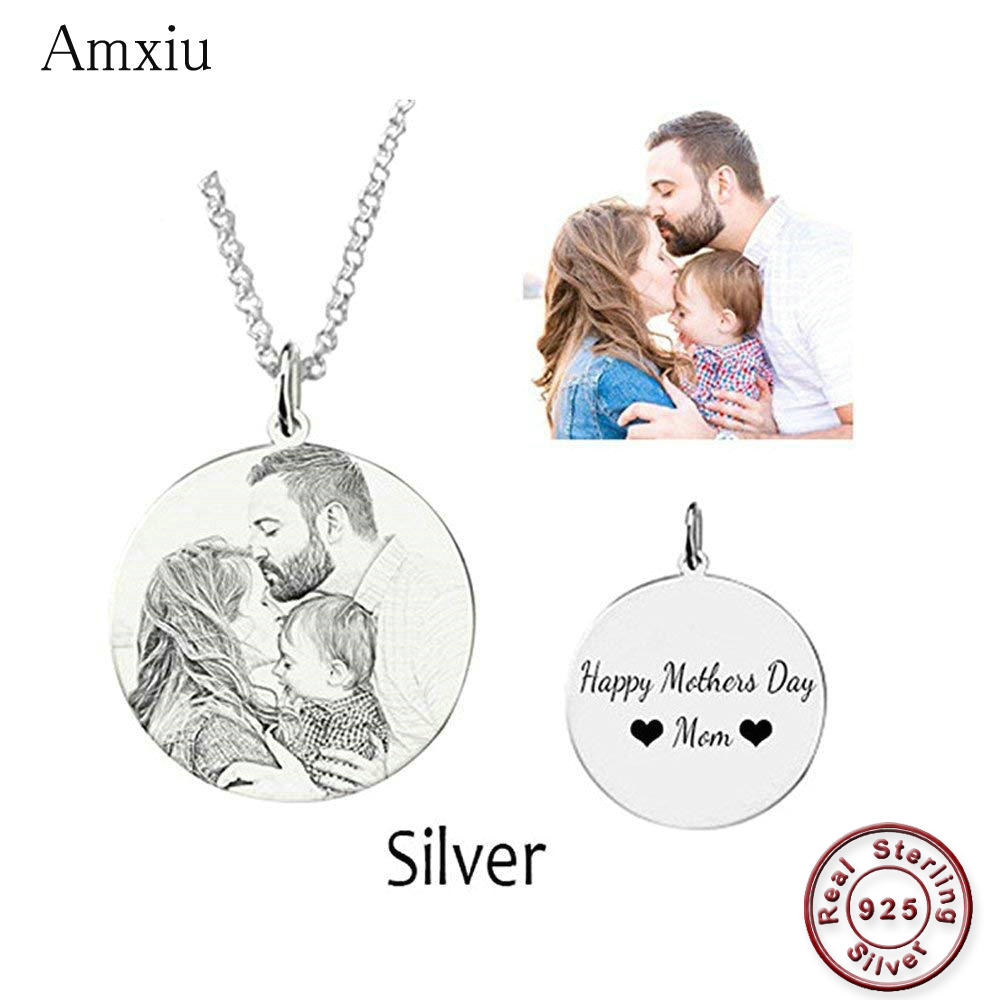 Amxiu Customized Family Lovers Picture Pendant Personalized 925 Sterling Silver Necklace Engrave Name Photo Necklace JewelryAmxiu Customized Family Lovers Picture Pendant Personalized 925 Sterling Silver Necklace Engrave Name Photo Necklace Jewelry