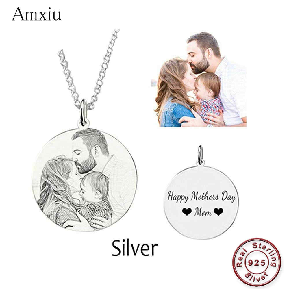 c954c23ed Amxiu Customized Family Lovers Picture Pendant Personalized 925 Sterling  Silver Necklace Engrave Name Photo Necklace Jewelry