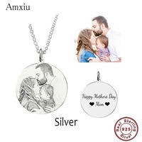Amxiu Customized Family Lovers Picture Pendant Personalized 925 Sterling Silver Necklace Engrave Words Jewelry Surprise Gifts
