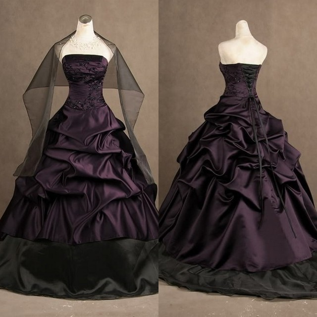aeb6fb63c3f Classic Black and Purple Gothic Wedding Dresses Strapless Ruched Ball Gowns  Satin Corset Bridal Gowns with Free Shawl