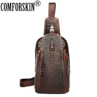 Alligator Pattern And Crocodile Head Series Men Messenger Bags 100 Cow Leather Retro Fashion Men Chest
