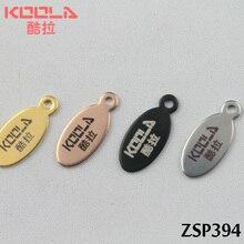 Позолоченные цветные лазерные гравировальные этикетки из нержавеющей стали с логотипом эллиптические гладкие этикетки для ювелирных изделий 50-500 шт ZSP394