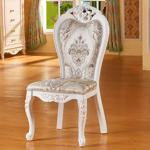 Clical French Style Rural Solid Wooden Carving And High Quality Soft Colth Armless Dining Chair