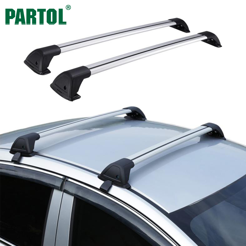 Partol 110CM Universal Car Roof Rack Cross Bars Crossbars With Anti-theft 68 kg/150LBS Aluminum Cargo Luggage Top Carrier partol car roof top cross bars roof rack cross bars rail carrier 150lbs aircraft aluminum for mazda cx 7 2007 2008 2009 2010 12