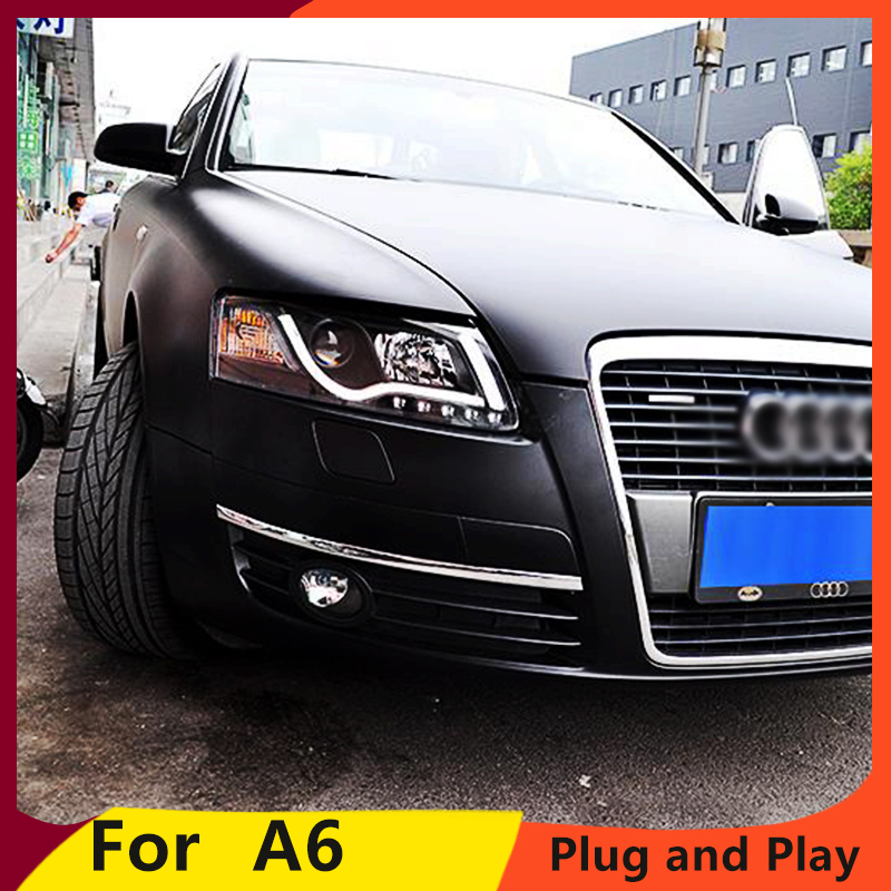 KOWELL Car Styling for Audi A6 C5 Headlights 2005 2012 A6 LED Headlight DRL Lens Double