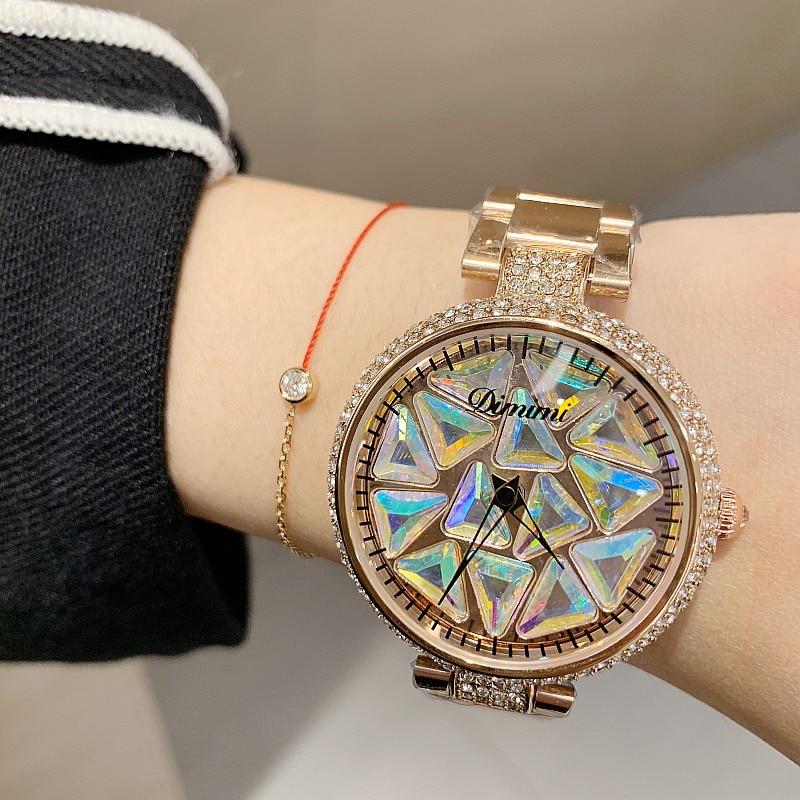 2019 Luxury Brand Lady Crystal Watch Rhinestone Women Dress Watch Fashion Quartz Rotate Female Stainless Steel Wristwatches