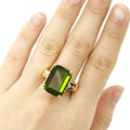 8# 18x13mm Green Peridot, CZ SheCrown Woman's Created  Gold Silver Ring 20x18mm