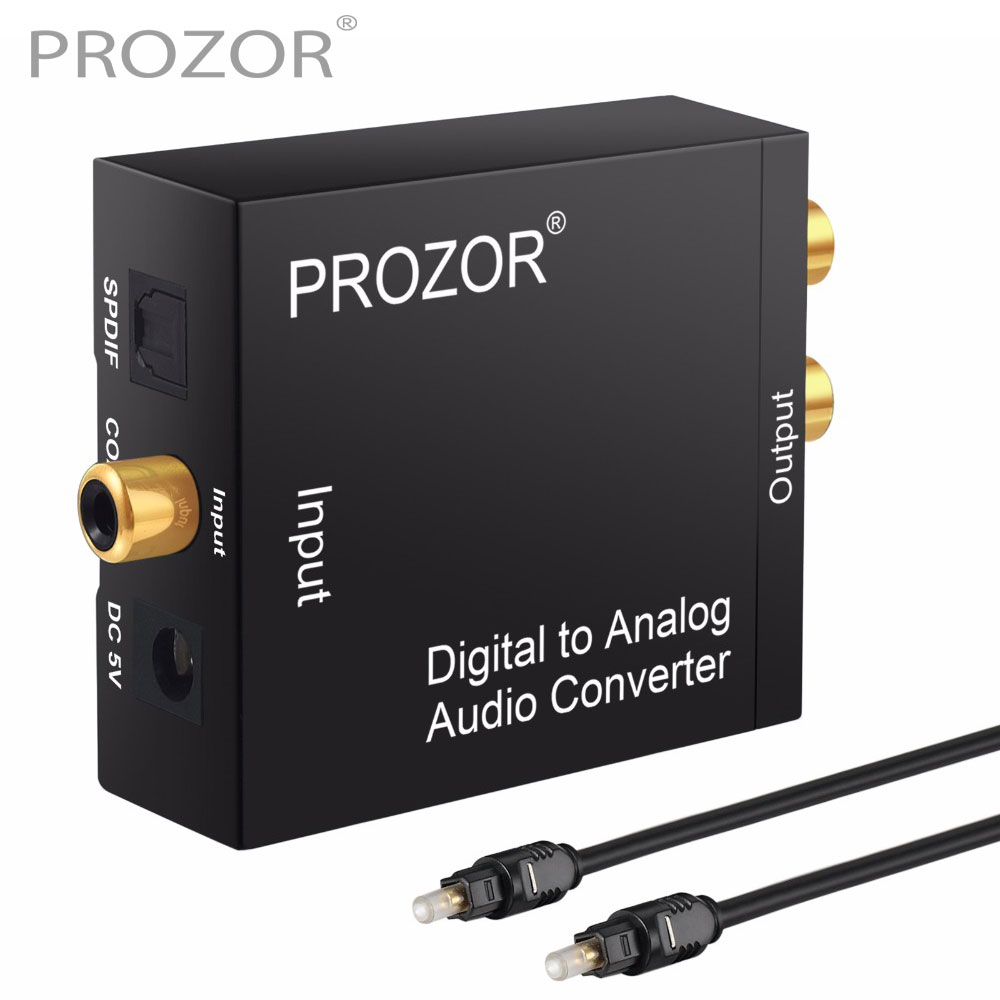 Prozor DAC convertidor Digital a analógico Coaxial óptico fibra SPDIF a RCA 3,5mm adaptador Audio Jack con Cable óptico para DVD