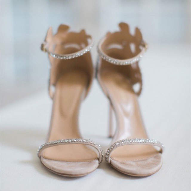 1c7679e1026 Champagne Wedding Shoes Rhinestone Stiletto Heels Bridal Sandals Woman  Shoes Summer 2018 Crystal Party Ankle Strap