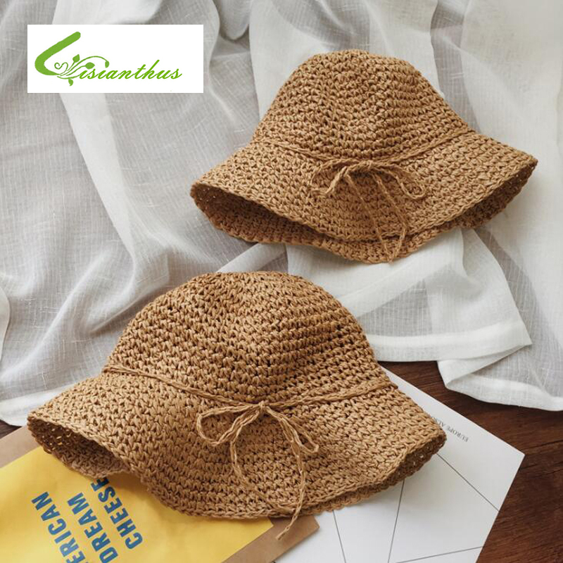 Girls Straw Hat Summer Beach Baby SunHat Round Top Raffia Wide Brim Straw Hats Children Bow Design Women Parent-Child Beach Caps wide brim straw hat