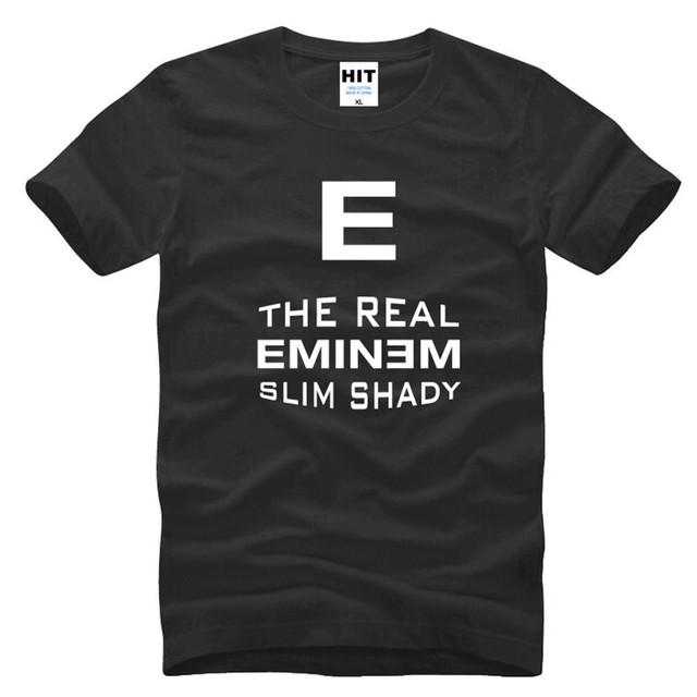 Hip Hop Rocha Música Rap Eminem Letra Impressa Mens Dos Homens T camisa T-shirt Da Forma 2016 Nova Manga Curta O Pescoço Camiseta de Algodão Tee
