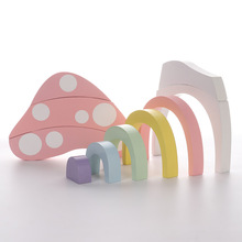 Cute Wooden Block Mushroom Rainbow Children Building Blocks Toys Baby Early Learning Educational Kids Model Building Toy