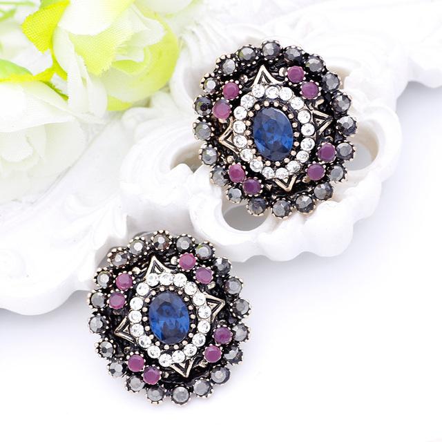 Women Round Resin Vintage Earrings Antique Stud Earring