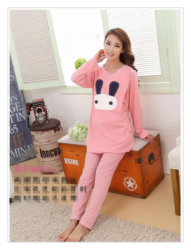 Cartoon rabbit Maternity Nurseing Pajamas (3)
