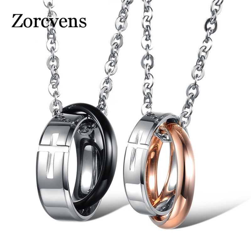 ZORCVENS New Fashion Lovers Couples jewelry 316L Stainless Steel Cross Pendants Necklace for Women