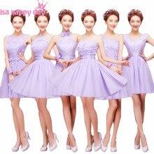81521c1ac29c Breve lilla lavanda bridesmade damigelle d onore una linea vestito di  lunghezza del ginocchio abito misto una linea di abiti da .