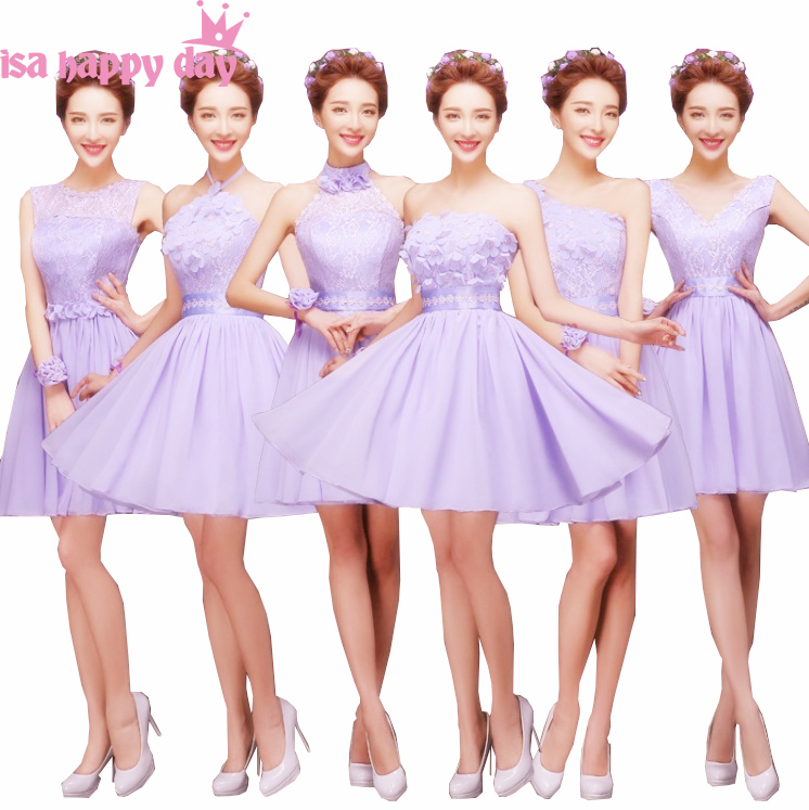 short lilac lavender bridesmade   bridesmaids   a line   dress   knee length gown mixed a line   bridesmaid     dresses   chiffon H4239