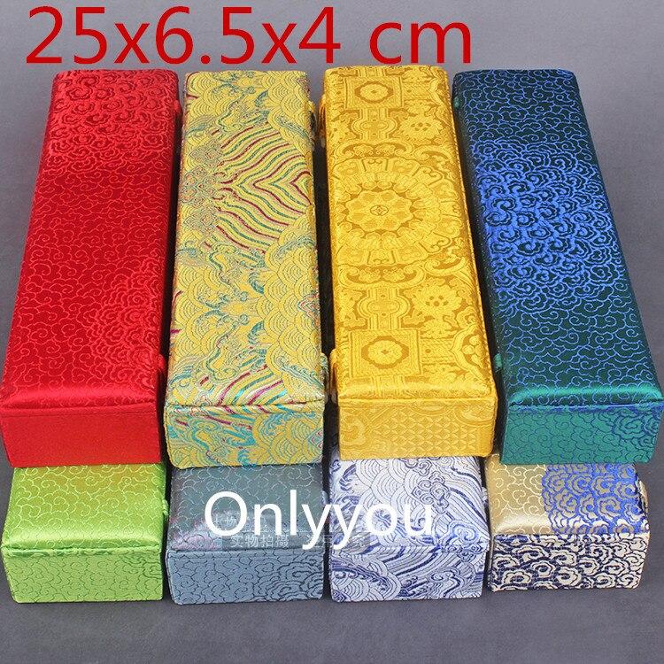 Long luxe chinois soie tissu cadeau boîte bois collier cadeau emballage boîte main ventilateur bijoux stockage décoration boîte 25x6.5x4 cm