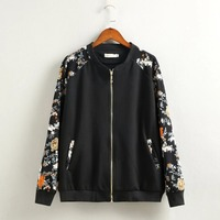2016 Plus size Streetwear Floral bomber jacket women Knitted fabrics Casual long sleeves jacket high waist coat