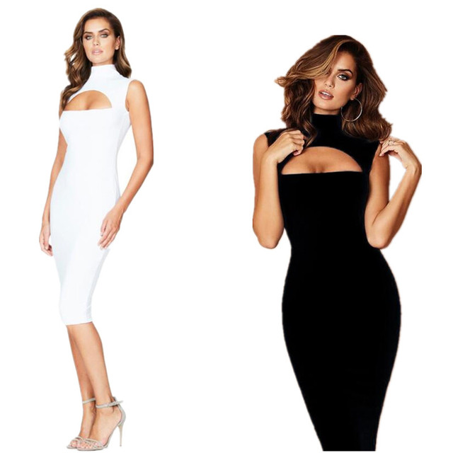 2017 Summer Sexy Hallow Out Slim Fitting Knee Length Curvy Bodycon Dress  Bandage Dress Party Club Vestidos 47048f4e6bd2