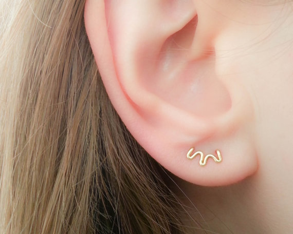 2pcs Double Piercing Stud Earring Handmade Two Hole Ear Cuff Tiny Minimalist Jewelry For Women Birthday In Earrings From Accessories On