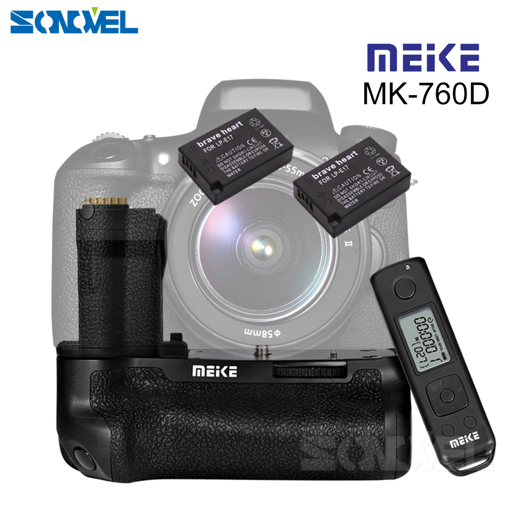 Meike MK-760D Pro Wireless Remote Control Vertical Battery Grip for Canon 750D 760D Rebel T6i T6s as BG-E18+2pcs LP-E17 Battery meike mk a6300 pro remote control battery grip 2 4g wireless remote control for sony a6300 ilce a6300 np fw50