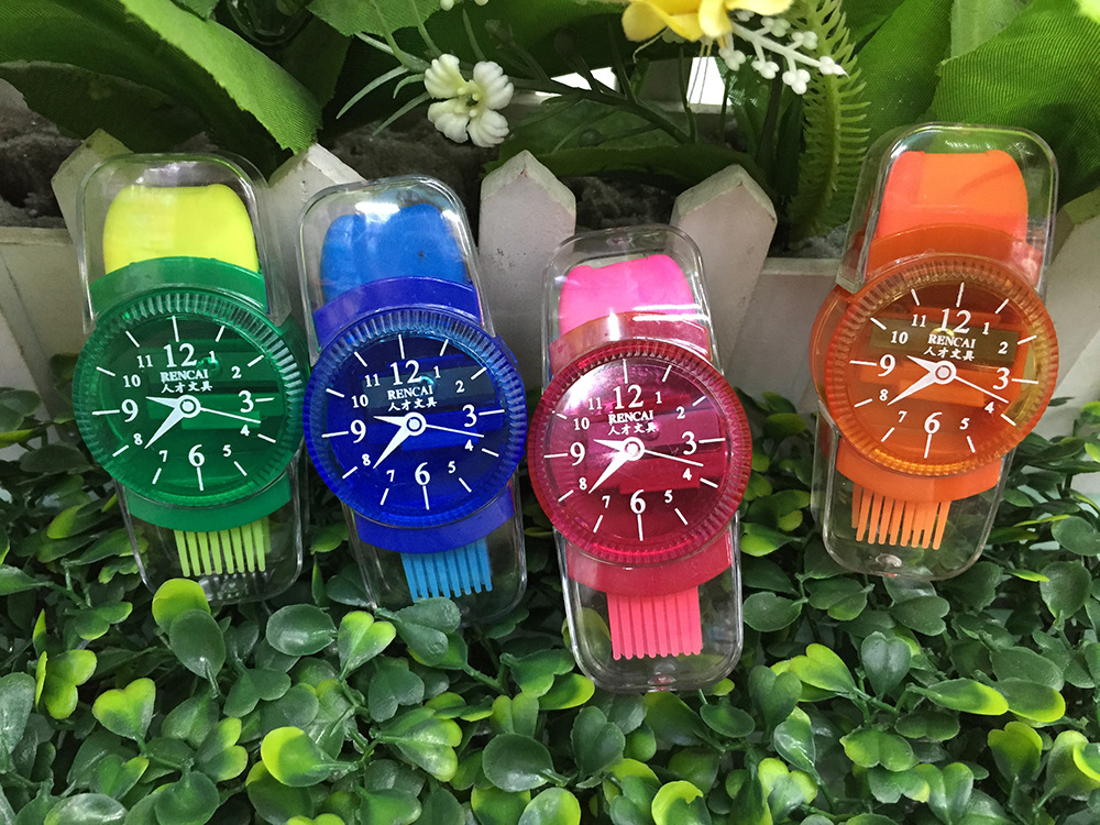 Funny Cute Watches Students Children Supplies Plastic Pencil With Erasers Brush