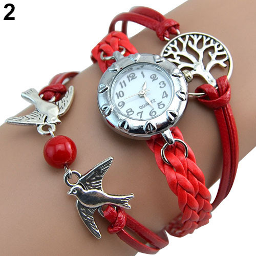 Fashion More Colors Vintage Life Tree Birds Charm Leather Plaited Bracelet Watch