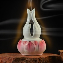 White lotus fragrance incense burner Bergamot line with Buddha Buddhist tea products Taobao Chinatown