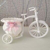 2PCS Lot 22 17CM Decorative Wicker Baskets Artificial Plastic Rattan Tricycle Bike Flower Pots Vase For