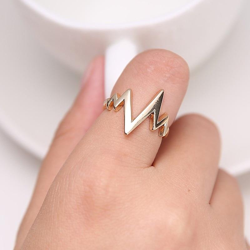 R062 Men Women Finger Rings Punk ECG Heartbeat Minimalist Ring Lightning Shape Anillos Anel Bijoux HOT Selling 2017