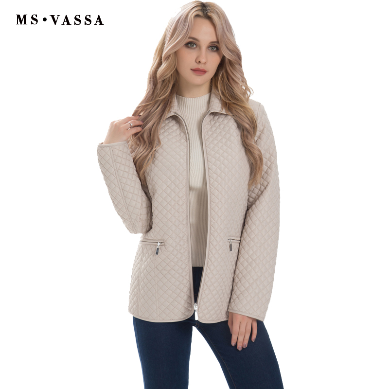 MS VASSA New Ladies jacket Women Spring Autumn classic quilting Parkas jacket plus size S 7XL