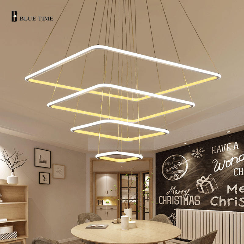 Square Rings Led Pendant Light For Dining room Kitchen Living room Bedroom LED Lustres Acrylic Led Pendant Lamp Lighting Fixture цена