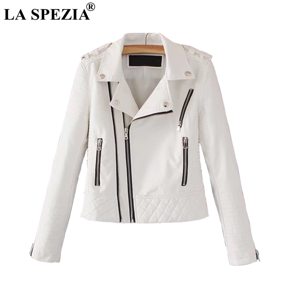 LA SPEZIA   Leather   Jacket For Women White Motorcycle Rock Coat Ladies Biker Punk Zipper Pockets Autumn Winter Jackets Fashion