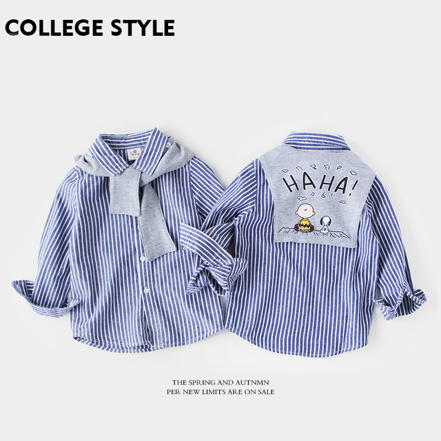 555607a1d6 Baby Boys Clothes Blue White Kids Vertical Striped Shirts Cotton Long  Sleeved Baby Boys Shirts with Detachable Cartoon Shawl