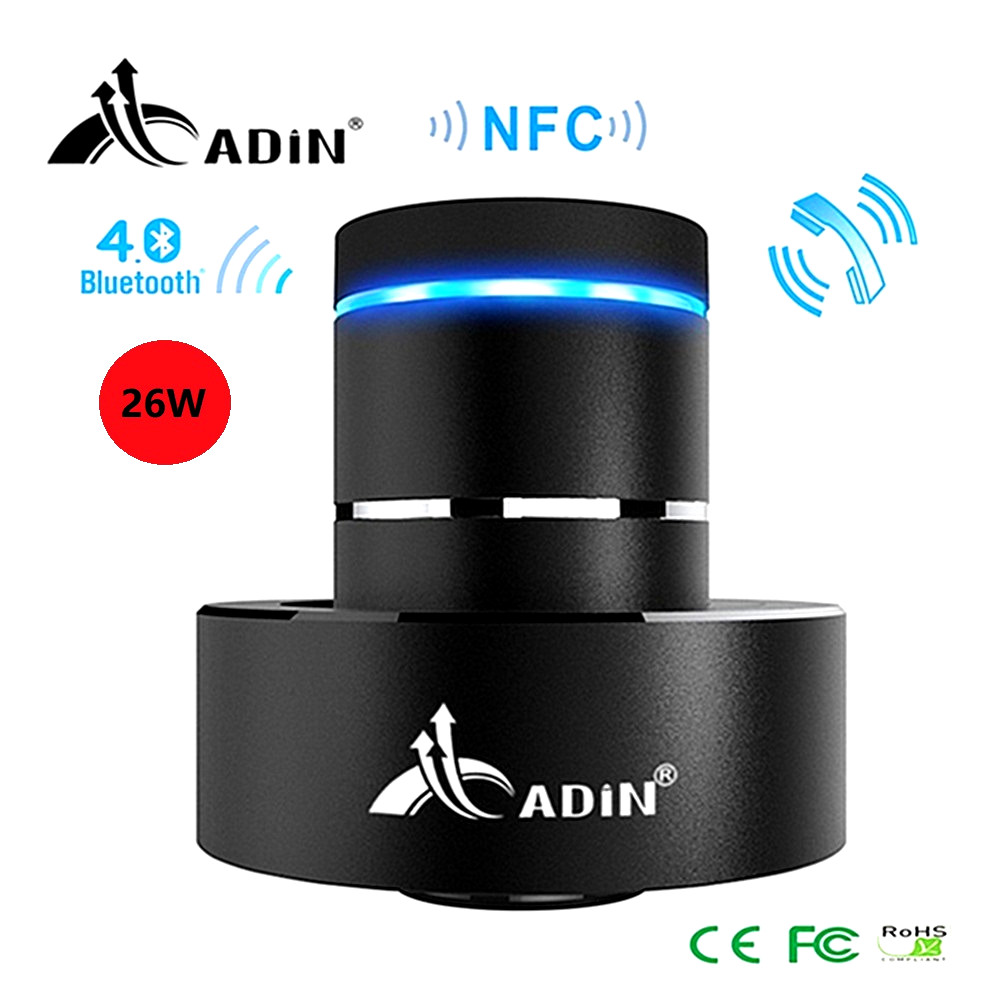 Bluetooth Vibration Speaker Adin 26W Super Bass Mini Portable Wireless Speaker Nfc Metal 360 Stereo Speaker for Phone column fashion nfc bluetooth speaker outdoor wireless usb waterproof stereo loudspeakers super bass speakers musics play for phone