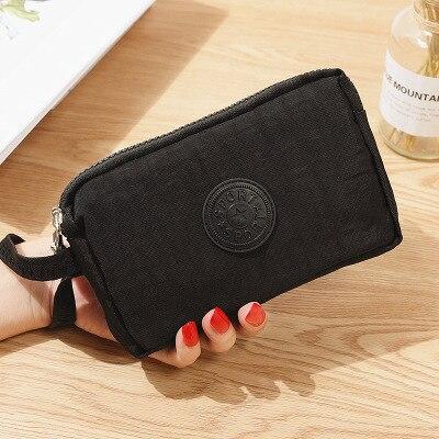 Женский кошелек, женский холщовый клатч, держатель для карт, Длинный кошелек, кошелек, высокое качество, вечерняя сумочка - Цвет: Черный